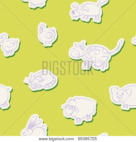 Seamless background with domestic animal kids drawing