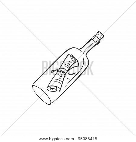 doodle bottle with a note
