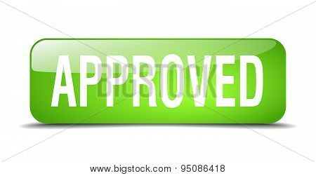 Approved Green Square 3D Realistic Isolated Web Button