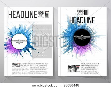 Abstract circle banners with place for text, watercolor stains and vintage style star burst. Busines