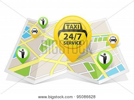 Taxi apps concept on a map