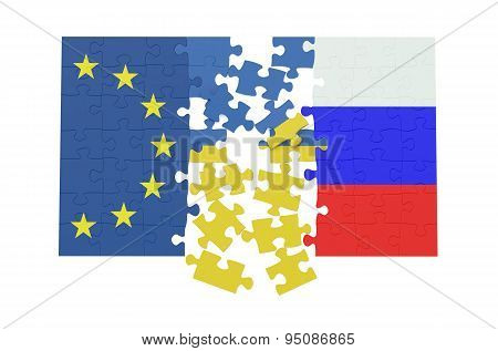 Puzzles Of Ukraine, Russia And Eu Concept
