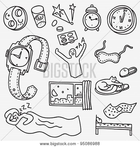 Sleeping time - doodles set