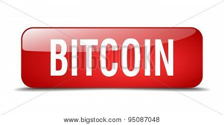 Bitcoin Red Square 3D Realistic Isolated Web Button