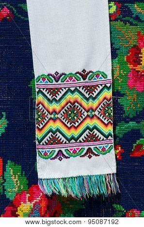 Belorussian Towel With Colorful Geometric Patterns