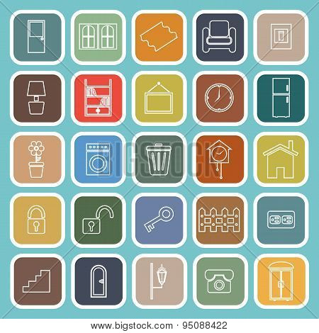 House Related Line Flat Icons On Blue Background