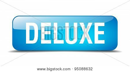 Deluxe Blue Square 3D Realistic Isolated Web Button