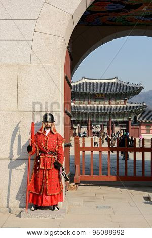Guard Of Gyeongbokgung Palace In Seoul, South Korea