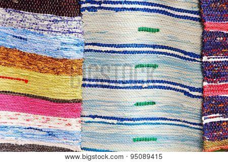 Colorful Handmade Rugs Taken Closeup.