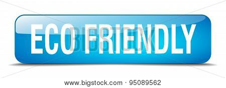 Eco Friendly Blue Square 3D Realistic Isolated Web Button