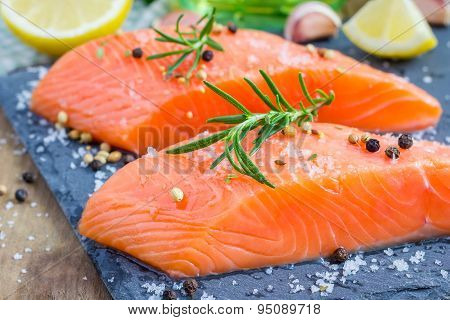 Fresh Raw Salmon Fillet With Seasonings