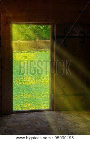 Sun Light Shining Through Wooden Door
