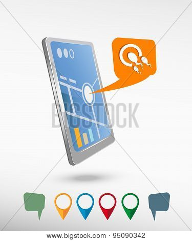 Sperms And Egg Icon And Perspective Smartphone Vector Realistic.