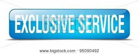 Exclusive Service Blue Square 3D Realistic Isolated Web Button