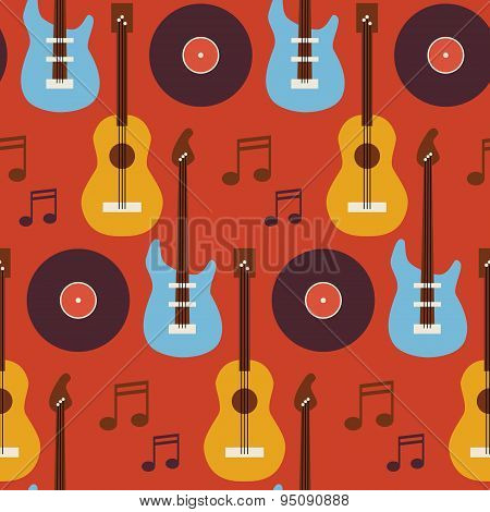 Flat Seamless Background Pattern Music Instrument Guitar Vinyl Disc And Note