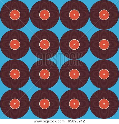 Flat Seamless Background Pattern Music Vinyl Disc Over Blue