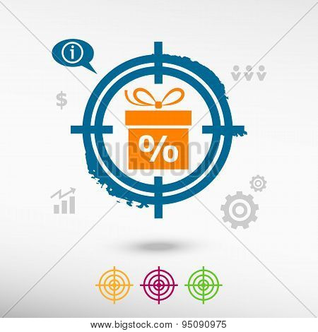 Gift Discount Box On Target Icons Background