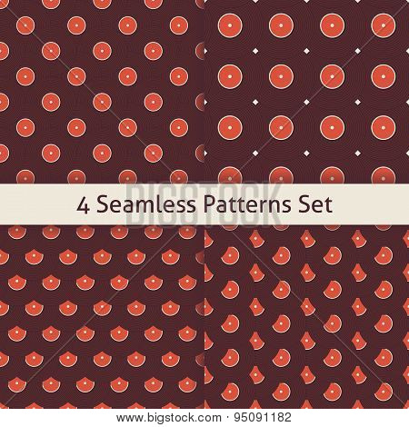 Four Vector Flat Seamless Music Vinyl Disc Patterns Set
