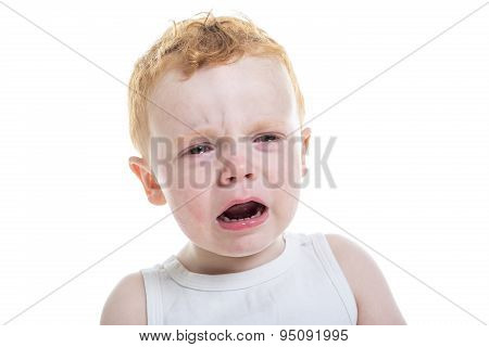 baby boy portrait cry isolated white background