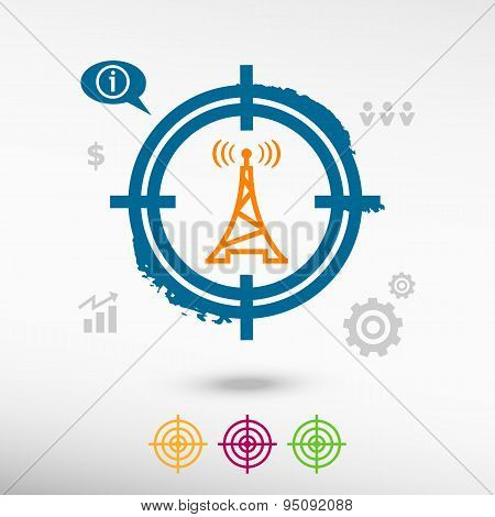 Transmitter Icon On Target Icons Background