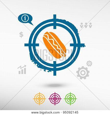 Hot Dog On Target Icons Background