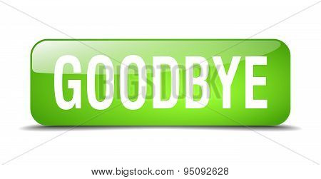 Goodbye Green Square 3D Realistic Isolated Web Button