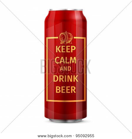 Keep calm and drink beer. can vector illustration