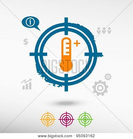 Thermometer Icon On Target Icons Background