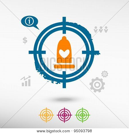 Condom  Icon On Target Icons Background.