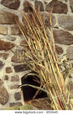 Fireplace With Broom Grass