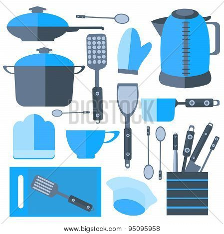 Set Isolated kitchen tools frying pan, kettle, cutting board