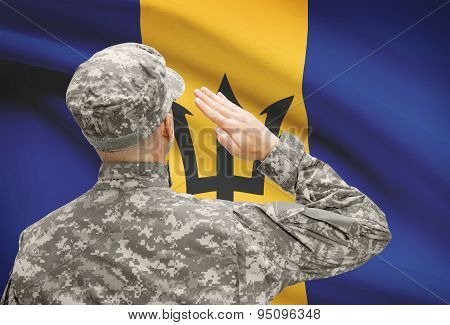 Soldier In Hat Facing National Flag Series - Barbados