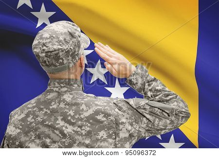 Soldier In Hat Facing National Flag Series - Bosnia And Herzegovina