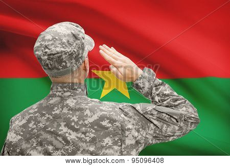 Soldier In Hat Facing National Flag Series - Burkina Faso