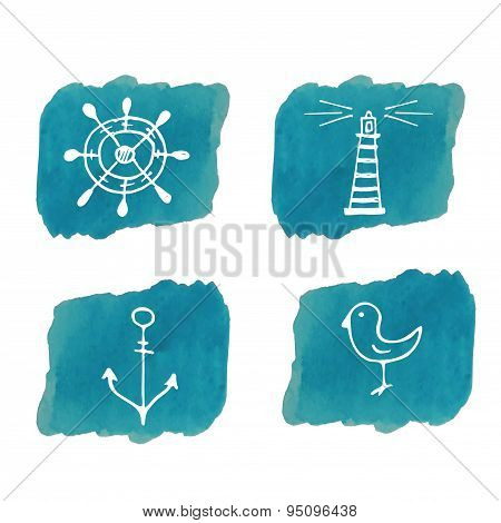 Sea handdrawn icons on watercolor background