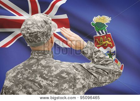 Soldier In Hat Facing National Flag Series - Cayman Islands