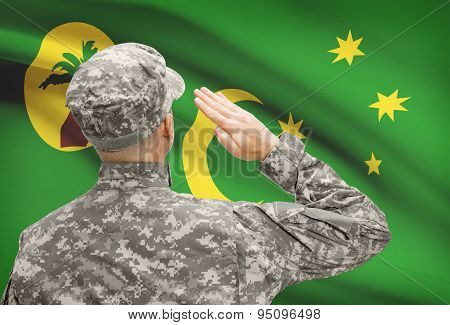 Soldier In Hat Facing National Flag Series - Cocos (keeling) Islands