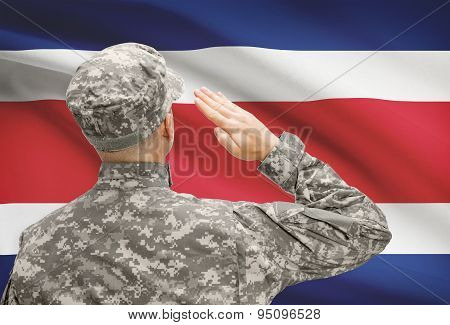 Soldier In Hat Facing National Flag Series - Costa Rica