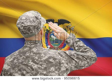 Soldier In Hat Facing National Flag Series - Ecuador
