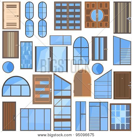 Set isolated doors, windows, glass