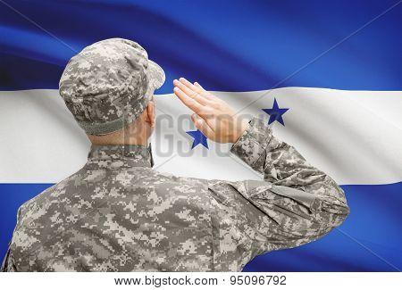 Soldier In Hat Facing National Flag Series - Honduras