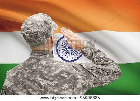 Soldier In Hat Facing National Flag Series - India