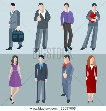 Set isolated office men and women workers