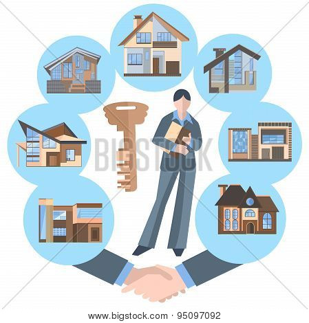 Woman real estate agent, building, key, house construction