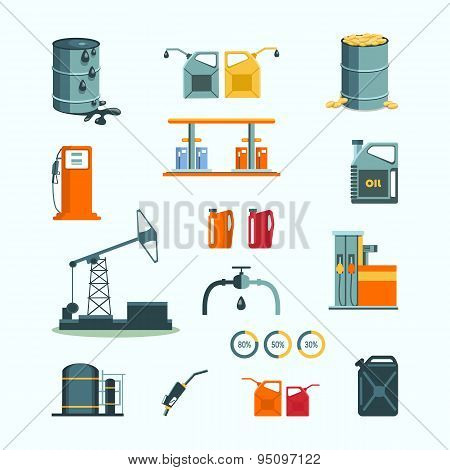 Oil and petrol industry vector objects