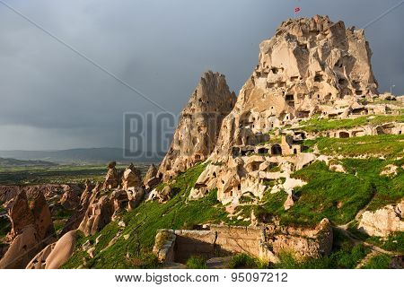 Fortress On The Rock In The Town Of Uchisar In Cappadocia, Turkey