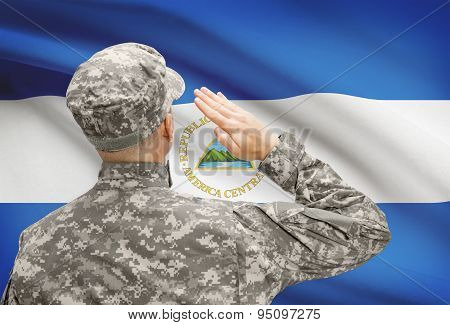 Soldier In Hat Facing National Flag Series - Nicaragua