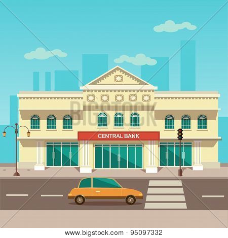 Vector illustration of central bank