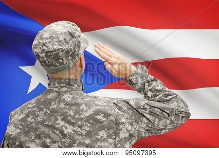 Soldier In Hat Facing National Flag Series - Puerto Rico