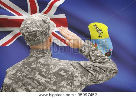 Soldier In Hat Facing National Flag Series - Saint Helena